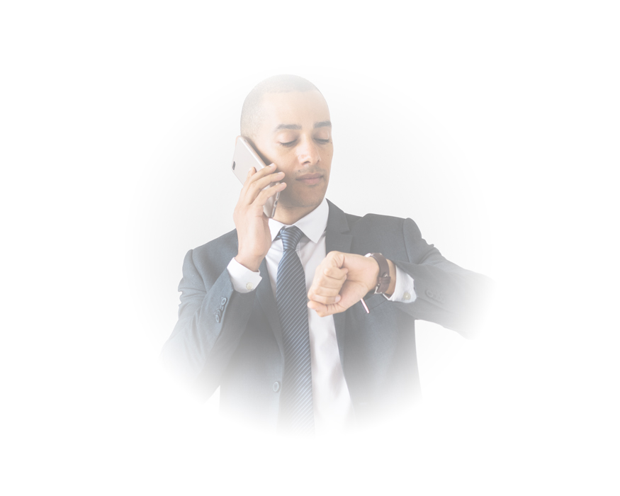 Business man wearing a suit and using a smart phone